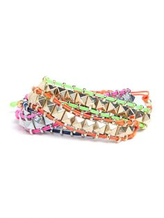 rainbow stud wrap bracelets