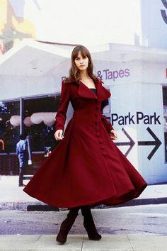 Wine Red Dress Coat Big Sweep Women Wool Winter Coat Long Jacket Tunic / Fast Shipping - NC222