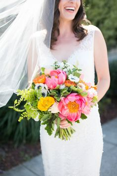 Vibrant bouquet: http://www.stylemepretty.com/2014/10/20/library-inspired-wedding-at-the-smog-shoppe/ | Photography: Kaysha Weiner: http://www.kayshaweiner.com/