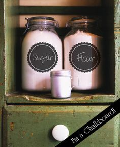 Chalkboard canister decals! See more at www.lacybella.com