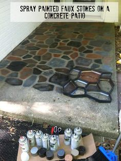 spray painted faux stones on a concrete patio DIY