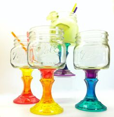 A colorful take on the Mason Jar Wine Glass. Four Rainbow Mason Jar Wine Glasses via Etsy.