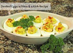 Deviled Eggs Recipe feautring Ham & a kick! #KraftRecipes egg dish, egg recipes, hams, easter, food idea, food drink, feautr ham, deviled eggs, devil egg