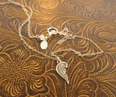 Fine silver Angel wing / memorial necklace by MayaBelle on Etsy, $43.00