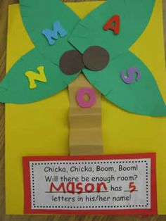 chicka chicka, boom boom, name crafts, chicka boom, name recognition, kindergarten blogs, preschool, name activities, back to school
