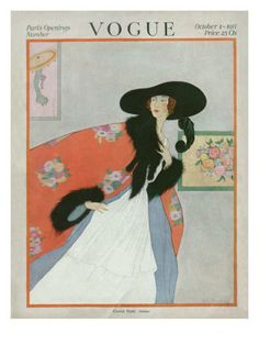 Vogue Cover - October 1917    Illustration of woman in art gallery with white dress, orange coat and hat - PARIS OPENINGS. vogu illustr, vogu magazin, vogu 19171934, vintag vogu, october, vogu cover, poster prints, vogue covers, hat