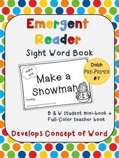"""FREE! Emergent Reader Sight Word Book #7 - """"Make a Snowman"""""""