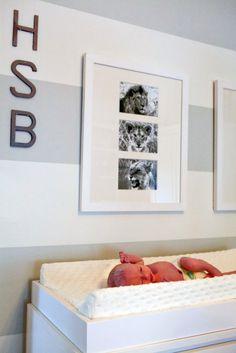 gray striped wall in baby nursery