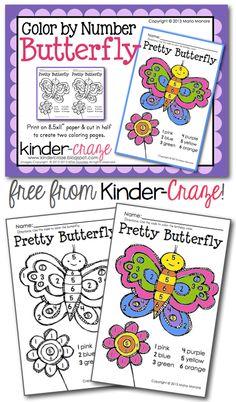 Kinder-Craze: A Kindergarten Blog: Color by Number Butterfly Freebie