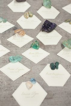 decor, crystals, place card holders, paper weights, escort cards, dream, place cards, rock, seating charts