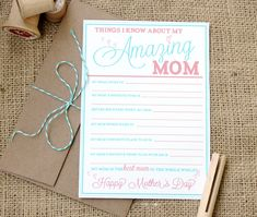 Free printable Mother's Day card!