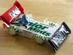Candy car snack idea for the Pinewood Derby.