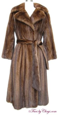 SOLD! Mahogany Mink Coat #MM715;Excellent Condition; 0 - 4 Petite. This is a gorgeous genuine natural mahogany mink fur coat. It has Furs by Le Nobel of Athens label and features a large notched collar and a very long belt which is removable.  The large sweep combined with the smaller waist create a beautifully fitted style. When you want to add a little drama to your world, reach for this mahogany mink coat. You will feel the glamour envelop you!