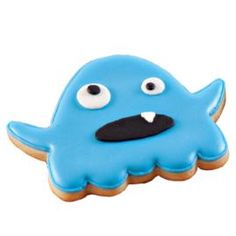 Guests and ghouls alike love fun monster cookies! Use the 7-Pc. Monster Cookie Cutter Set, Roll-Out Cookie Dough and bright blue Color Flow Icing to make these great cookies for your party.