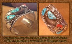 Navajo Made Turquoise And Red Coral Sterliing Silver Large Cuff Bracelet - By M Thomas Jr.- Review the bear claw collection off of: http://www.indianvillagemall.com/jewelry/navajobearlcawjewelry.html
