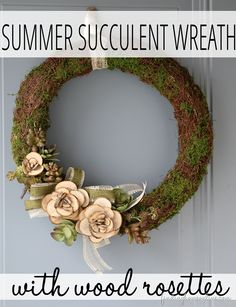 Succulent wreath with wood slice flowers