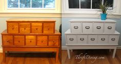 """DIY card catalog"" -- This is the before and after for this card catalog-like piece, but there isn't anything else in the way of explanation on the site except: ""Make over a small $18 set of drawers for under $50, with the right paint and knobs."""