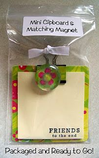 Mini clipboard and matching magnet made from coaster, binder clip and glass pebble