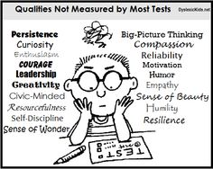 Qualities not measured by most tests.