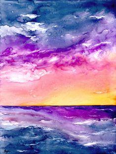 Original Sunset Storm Seascape Watercolour Painting on Yupo