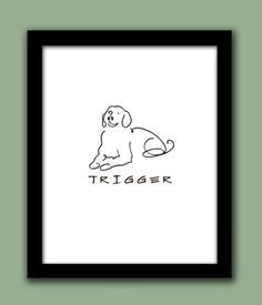 Golden Retriever - Personalized Line Drawing