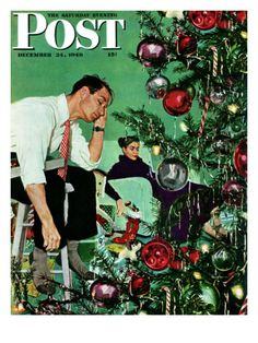 """""""Trimming the Tree"""" by George Hughes. Issue: December 24, 1949. ©SEPS. Giclee print available at Art.com."""