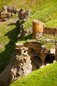 Cave houses and ravine at Ani archaelogical site on the Ancient Silk Road , Kars , Anatolia, Turkey