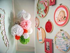 Baby Girl Nursery - Wall Art - Embroidery Hoops