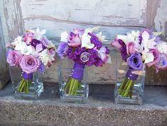 Dark Purple lisanthius wedding boquets | purple rose, callas, lisianthus & orchid bouquet