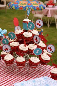 blue and red wagon birthday party.