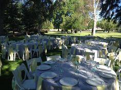 Round table set up at Rancharrah, Reno