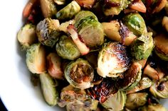Roasted brussels sprouts with bacon and apples.  I made this last night for my hubby who is not typically a brussell sprouts fan.  We both loved it!  Delish!!
