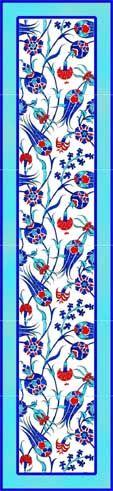Ýznik Çinileri-45x180  el dekor çini-Ýznik pano ferace