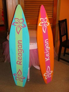 4 Foot Surfboard wall art, Beach decor wall hanging (Will personalize for free) kids room. $59.99, via Etsy.