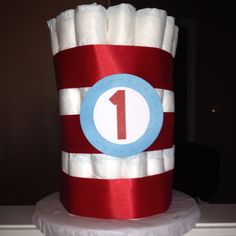 Cat in the hat diaper cake (could do with onesies too!)