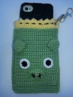 Green Pig Crochet Case with Keychain for by TinyTechieThings