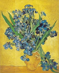 Van Gogh's Vase with Irises Against a Yellow Background