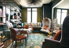 Amy Morris, Den, Study, Peacock blue, orange, lucite, eclectic