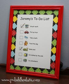 Daily chore list for preschoolers. Love this idea! We always have checklists and charts going for some reason or another. This would make them look cuter!