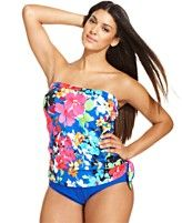 Swim Solutions Plus Size Floral-Print One-Piece Swimsuit