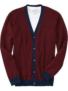Men's Button-Front Contrasting Cardigans | Old Navy