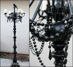 DIY envy!   :: a tired floor lamp base + chandelier + beads + krylon = Floor Candelabra for #Halloween. A+++. Vivienne from The V Spot