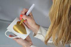 DIY gold heart mug.