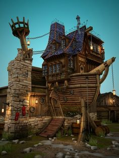 How much fun would it be to live in a house that is part pirate ship? playhous, howls moving castle, architectur, tree houses, ships, boat, place, dream houses, beauty shots