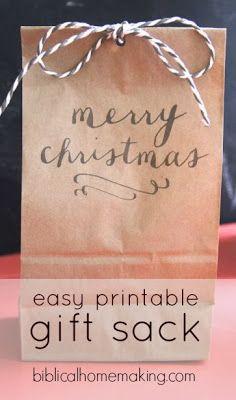 easy {free} printable christmas gift sack: perfect for cookies!