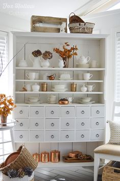 Fall Home Decorating Ideas | Autumn apothecary cabinet w/ natural elements, thrifted copper, etc.. at foxhollowcottage.com