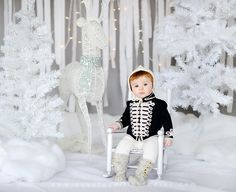 christmas mini session all white set by squaresville studios