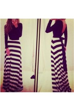 Look like a modern-day Holly Golightly in this black and white striped maxi dress. The low back and bow belt add a glamorous touch  to a classic look. $52.00