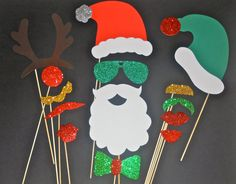 Christmas Photo Booth Props / Holidays photo booth props / Christmas Photobooth prop / Photobooth props/ Christmas Party. $32.00, via Etsy.