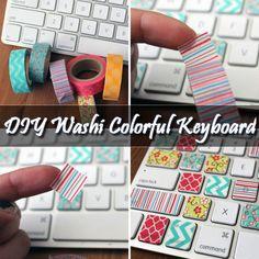 DIY Washi Colorful Keyboard #DIY http://www.diyhomestips.com/143/crafts/diy-washi-colorful-keyboard